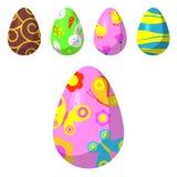 Vector de los huevos de Pascua pintado con el juego coloreado multi retro del día de fiesta del alimento biológico del ornamento  ilustración del vector