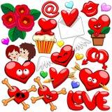 Vector de los iconos de los caracteres del día de tarjeta del día de San Valentín de Valentine Love Heart Doodles Cute stock de ilustración