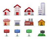 Vector de los iconos de la característica de las propiedades inmobiliarias Imagen de archivo libre de regalías