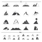 Vector de los iconos de la montaña stock de ilustración