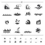 Vector de los iconos de la onda de agua ilustración del vector