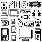 Vector de los iconos de la tecnología Imágenes de archivo libres de regalías