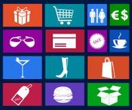 Vector de los iconos de las compras Fotos de archivo libres de regalías