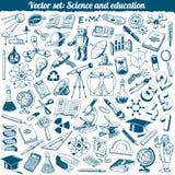 Vector de los iconos de los garabatos de la ciencia y de la educación Imagen de archivo