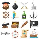 Vector de los iconos de los piratas fijado en el fondo blanco Foto de archivo libre de regalías
