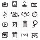 Vector de los iconos del ajuste de la cámara de la foto Imágenes de archivo libres de regalías