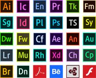 Vector de los iconos del color del adobe de los programas de los logotipos stock de ilustración