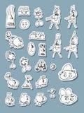 Vector de los iconos del garabato del Naif Fotos de archivo