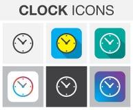 Vector de los iconos del reloj aislado en gris Imagen de archivo