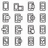 Vector de los iconos del teléfono móvil Fotografía de archivo libre de regalías