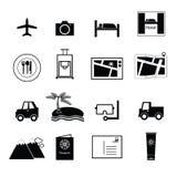 Vector de los iconos del viaje y de las vacaciones Fotografía de archivo libre de regalías