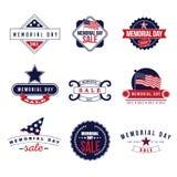 Vector de los iconos y de las insignias EPS 10 de la venta de Memorial Day Foto de archivo libre de regalías