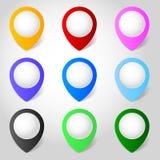 Vector de los indicadores del mapa Foto de archivo