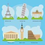 Vector de los monumentos y de las señales europeos vol. 1 Foto de archivo libre de regalías