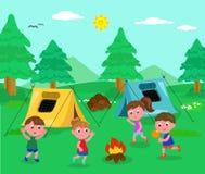 Vector de los niños que acampa Fotografía de archivo libre de regalías