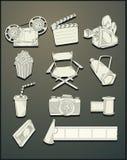 Vector de los objetos de la película del dibujo lineal Imagenes de archivo