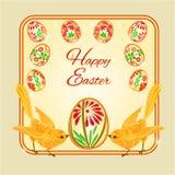 Vector de los pájaros y de los huevos de Pascua Imagen de archivo libre de regalías
