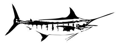 Vector de los pescados de la aguja azul Fotografía de archivo