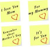 Vector de los recordatorios amarillos de la nota del palillo para el día de madre Fotografía de archivo libre de regalías