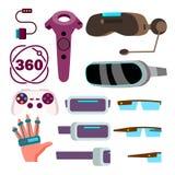 Vector de los vidrios de la realidad virtual Tecnología del ciberespacio Juego de VR Máscara futurista Ejemplo aislado de la hist libre illustration