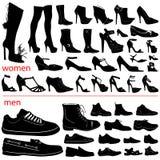 Vector de los zapatos de las mujeres y de los hombres Fotografía de archivo