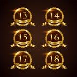 Vector de lujo Illustrator EPS del aniversario 13-18 de la insignia 10 libre illustration