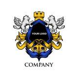 Vector de lujo de la insignia del león del escudo stock de ilustración