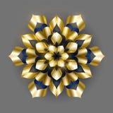 Vector de lujo de oro del fondo Diseño del estampado de flores del copo de nieve del oro r ilustración del vector