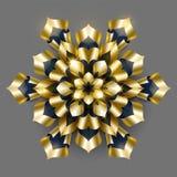 Vector de lujo de oro del fondo Diseño del estampado de flores del copo de nieve del oro r stock de ilustración