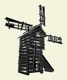 Vector de madera 01 del molino de viento ilustración del vector
