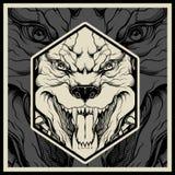 Vector de mascottehoofd van illustratie Boos pitbull royalty-vrije illustratie