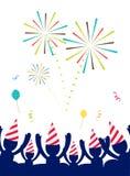 Vector: De mensen met partijhoed vieren bij partij met vuurwerk, Stock Afbeelding