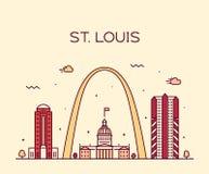 Vector de Missouri los E.E.U.U. del horizonte de la ciudad de St. Louis linear ilustración del vector