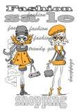 Vector de moda de las muchachas de la historieta ilustración del vector