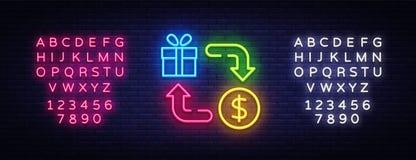 Vector de neón del icono de la devolución de efectivo Señal de neón de la devolución de efectivo, plantilla del diseño, diseño mo libre illustration
