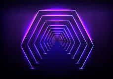 Vector de neón de la iluminación del túnel que brilla intensamente futurista ilustración del vector