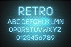Vector de neón ligero del alfabeto de la fuente Efecto del texto que brilla intensamente Letras azules del tubo de neón aisladas  stock de ilustración
