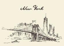 Vector de Nueva York los E.E.U.U. del horizonte del puente de Manhattan dibujado ilustración del vector