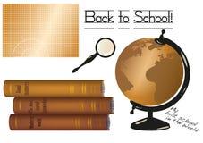 Vector de nuevo al ejemplo de la escuela con la estera del corte (o un tablero de tiza), a la pila de libros viejos, al globo y a Imagen de archivo