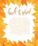 Vector de nuevo a anillo del espacio en blanco de la escuela con las hojas de otoño Puede ser utilizado como tarjeta o cartel del Imagenes de archivo