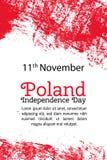 Vector de Onafhankelijkheidsdag van illustratiepolen, Poolse vlag in in grungestijl 11 November-ontwerpmalplaatje voor affiche royalty-vrije illustratie