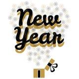 Vector de oro del logotipo del tiempo mágico del Año Nuevo ilustración del vector