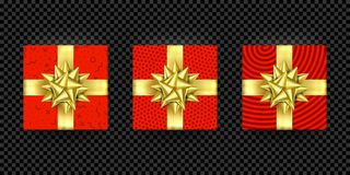 Vector de oro rojo del modelo de la envoltura del arco de la cinta del presente de la caja de regalo de la Navidad aislado Fotos de archivo
