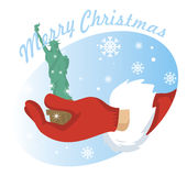 Vector de Papá Noel de la mano Fotos de archivo