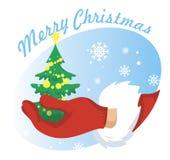Vector de Papá Noel de la mano Imagenes de archivo
