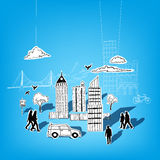 Vector de papel de la ciudad Imagen de archivo