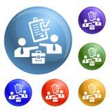Vector de papel del sistema de los iconos del soborno aprobado stock de ilustración