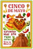 Vector de partijuitnodiging van Cinco de Mayo Mexican