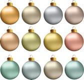 Vector de Pastelkleur Metaalkleuren van Kerstmisballen Royalty-vrije Stock Foto's