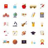 Vector de Pictogrammeninzameling van het onderwijs Vlakke Ontwerp Stock Foto's